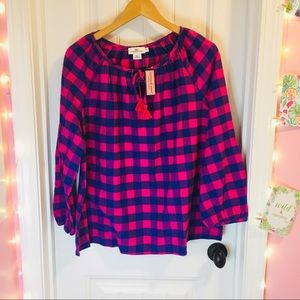 Vineyard Vines Check & Tassel Top